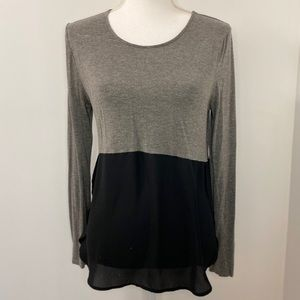 Gray and Black Long Sleeve Top-Small
